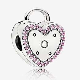 Heart padlocks online shopping - Fit Pandora Jewelry Logo Heart Padlock Clip Charm Beads Bracelet Sterling Silver Original European Charms Necklace Collection
