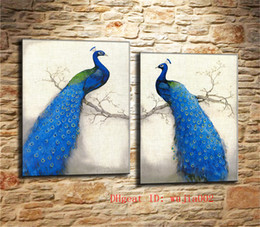 framed mural painting Australia - Peacock Animal , 2P Canvas Painting Living Room Home Decor Modern Mural Art Oil Painting