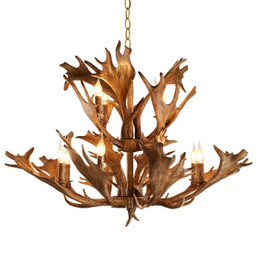 China Retro Antler Chandelier Creative Resin Ceiling Hanging Light New Fixture For Duplex Building Living Room Home lighting LLFA cheap resin antlers suppliers