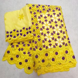 Latest African Lace Fabric 5yards+2yards cotton voile lace High Quality Emboridery French French Fabric EHH062 YELLOW on Sale