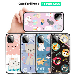 cartoon tempered glass iphone UK - For iPhone 6 6S 7 8 Plus X XR XS Max 11 11Pro Luxury Girls Cartoon Cat Casing Phone Case Shockproof Tempered Glass Back Cover