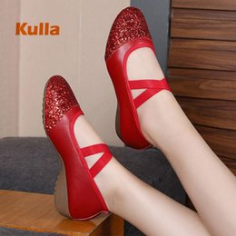 girls shoes size 34 Australia - Square Women Dance Shoes Ballroom Soft Oxford Outsole Latin Glitter Sequins Dancing Shoes Female Girls Practice Size 34-41