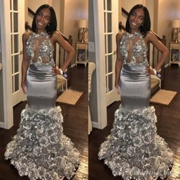 $enCountryForm.capitalKeyWord Australia - African Silver Mermaid Prom Dresses With 3D Flower Appliques Halter Backless Sweep Train Black Girl Evening Party Dresses Red Carpet Gowns