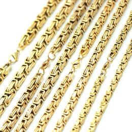 $enCountryForm.capitalKeyWord Australia - Mens Chain 5mm 6mm 7mm 8mm Gold Tone 316 Stainless Steel Byzantine Box Link Necklace chain