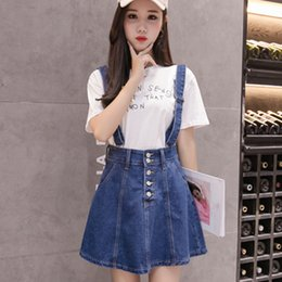 9536e79273 Exotao Style Suspender Mini Skirt Women High Waist A Line Skirts Jupe Femme  Casual Loose Pockets Button Saias Faldas Mujer Moda C19040402