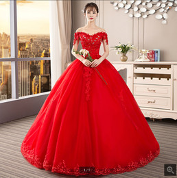 $enCountryForm.capitalKeyWord NZ - 2019 new design ball gown red off the shoulder wedding dress beading crystals appliques stylish wedding gowns corset bride dress