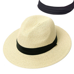 wide brim cream hat Australia - Summer Hat Women Panama Straw Hat Fedora Beach Vacation Wide Brim Visor Casual Summer Sun Hats for Women