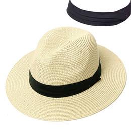 $enCountryForm.capitalKeyWord Australia - Summer Hat Women Panama Straw Hat Fedora Beach Vacation Wide Brim Visor Casual Summer Sun Hats for Women