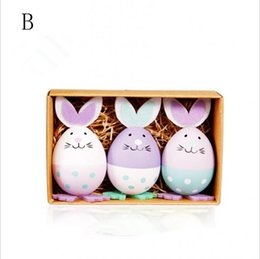 Easter Small Toys Bunny Egg DIY Plastic Painting Craft Ornaments Birthday Gifts Childrens Educational Set MMA1326 100set
