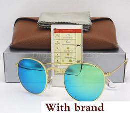 Golden Flash Drive Australia - Sunglasses Eyewear Sun Glasses Designer Gold Metal Frame Green Mirror 50mm Flash lens Glass Lenses For Mens Womens Better Brown Box
