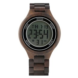 Unique Watches For Men UK - Unique Luminous Function Digital Watches for Male Whole Wooden Electronic Watch for Men Casual Calendar Display Wood Wristwatch