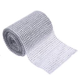 $enCountryForm.capitalKeyWord Australia - 5 Yard Sparkle Mesh Trim Diamond Wrap Roll Rhinestone Silver Ribbons Wrapper Roll for Wedding Party Decoration