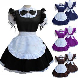 Cosplay for plus size women online shopping - Maid Dress Cute French Maid Outfit Cosplay Costume For Women Short Sleeve Doll Collar Retro Plus Size S XL