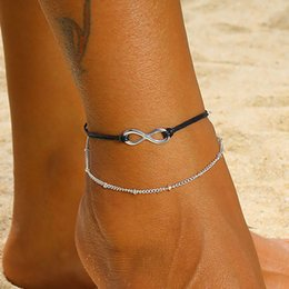 anklet women Australia - FAMSHIN Boho Lnfinite Beads Anklets For Women 2019 Fashion Sun Pendent Multi Layer Anklet Cotton Handmade Chain Foot Jewelry