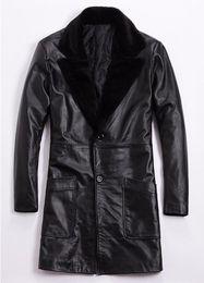 $enCountryForm.capitalKeyWord Australia - Men Tide Plus Size Suit Clothes Winter New Thick Cowhide Coat Genuine Leather Jackets Male Slim Long Lamb Fur Collar Windbreaker Coats