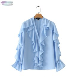 $enCountryForm.capitalKeyWord Australia - Women Sweet Ruffled Stylish Blouse V Neck Long Sleeve Cute Female Casual Fashion Blue Chiffon Tops Blusas La855