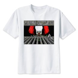 China It Clown Pennywise T-shirt Men Summer T-shirt Boy Print Tshirt Anime T Shirt Brand Clothing White Color Tops Tees cheap clown tshirt suppliers