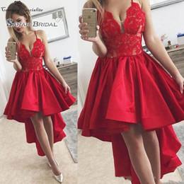 $enCountryForm.capitalKeyWord NZ - 2019 Hi-Lo Red Prom Dresses Lace Appliques Spaghetti Starps A-Line Formal Evening Party Gowns Vestido De Festa Customized