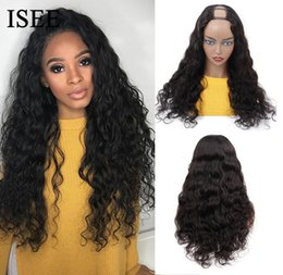 brazilian virgin hair u part wigs UK - 2020 New Brazilian Loose Deep Wave U Part Wigs For Women 150% Density Loose Wave Middle U Shape Wigs Glueless Wigs ISEE HAIR