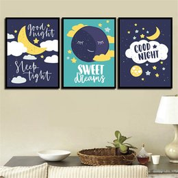 Art Canvas Prints Australia - Nordic Style Wall Art Print HD Canvas Cartoon Moon Sweet Sun Star Poster Painting Pop Pictures For Living Room Home Decor
