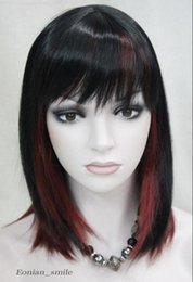 Wigs Mixed Black Burgundy Australia - WIG Fashion Black Burgundy Mixed Medium short Women ladies Daily Wig EC-TLD126