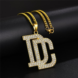 rhinestone slide letters Australia - Fashion Men Hip Hop Letter DC Big Pendant Necklace Jewelry Full Rhinestone Design 18k Gold Plated Chains Trendy Punk Necklaces For Mens Gift