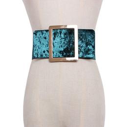 Discount velvet design women - new brand design Velvet wide Waist Belts For Women Dress causal Corset Belt Large metal Buckle Girdle Cummerbunds access