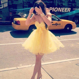Wholesale button up mini dress resale online – Yellow Short Party Dresses With Sweetheart A Line Cocktail Dress Back Lace Up Beading Tiered Ruffles Organza Homecoming Dresses Party Gown