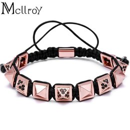 macrame bracelet connectors UK - Mcllroy Pyramid Connector Square Beads Braiding Men Macrame Bracelet & Bangle Braiding Macrame Bracelet Woman Charm