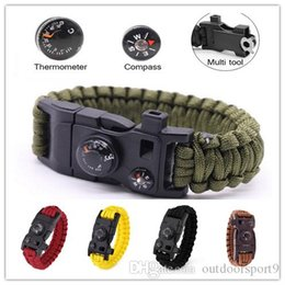 military survival compass UK - Compass Wrench Thermometer 15In1 Survival Bracelet Multi-function Military Emergency Camping Rescue EDC Bracelet Escape Tactical Wrist Strap