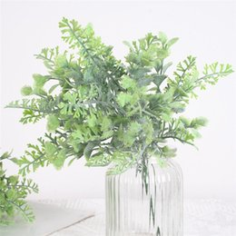 plastic greenery NZ - one Plastic Antler Leaf Bunch Artificial Flocking Effect Antler Flower Fake Grass Green Plant Greenery for Home Office Table Decoration