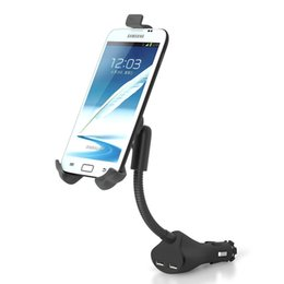 galaxy s3 car holder UK - Universal Car Phone Charger Holder Dual USB Charger For Iphone 6 7 8 X Samsung Galaxy Note S3 Sony Xperia Lenovo Mount Stand