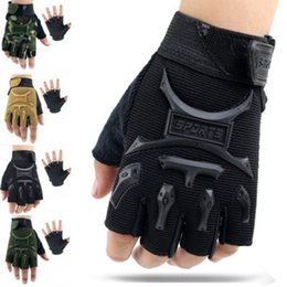 Hiking bike online shopping - Cycling fingerless gloves Years Kids Army Tactical Fingerless Gloves Anti Skid Half Finger Mitten Bike Children kids protector ZZA679
