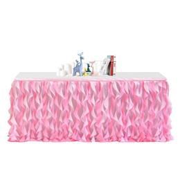 Polyester Table Skirting Australia - LanLan Colour Mixture Rag Table Skirt for Party Decoration