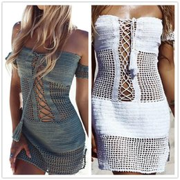 Wholesale Women Sexy Openwork Knit Beach Blouse Swimsuits Hand Hooked One shoulder Slim Dress Sports Hollow Bikinis Surfing Swimwear Summer