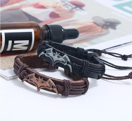 Alloy Bats Australia - 100% Leather Bracelet Bat Charm Men Bracelet Fashion Alloy Charms Bracelet Jewelry Party Fine Jewelry Leather For Unisex