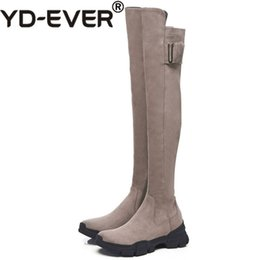34202e99504 YD-EVER Women Over The Knee High Boots Suede Leather Buckle Party Shoes  Woman Ladies Tight High Winter Warm Snow Boots