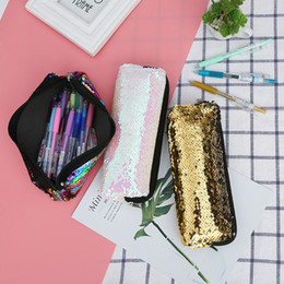 glitter makeup pens NZ - Sequins Cosmetic Bag Makeup Storage Bags Mermaid Handbag Pen Pencil Bag Glitter Coin Wallet Zipper Pouch for Students Women