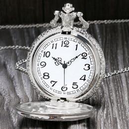 training clock 2019 - Vintage Silver Charming Gold Train Carved Openable Hollow Steampunk Quartz Pocket Watch Men Women Necklace Pendant Clock