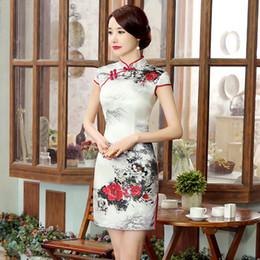 $enCountryForm.capitalKeyWord Canada - 2019 Summer high quality plus size short sleeve real silk cool printed landscape painting short cheongsam daily Chinese dress qipao