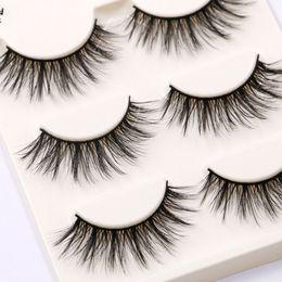 Make Up False Eyelashes Australia - 3Pairs Makeup Natural False Eyelashes Black 3D Mink Fake Eye Lashes Long Make up Extension Tools wimpers for Beauty maquiagem
