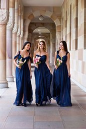 cheap bohemian prom dresses Canada - Hot Sale Navy Bohemian Bridesmaid Dresses Cheap Cold shoulder Chiffon Empire Pleated Floor Length Wedding Party Prom Bridesmaids Dress