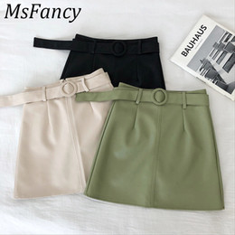 Wholesale leather micro mini resale online - 2019 Skirts Women Solid Color High Waist Pu Leather Mini Skirt A line Micro Skirt Matching Belt Streetwear T200702