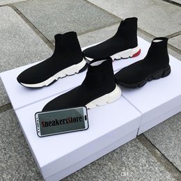 clear shoe boxes men NZ - With Box 2019 New Designer Speed Runner Socks Shoes Fashion Top Quality Triple Black Oreo Red Flat Trainer Men Women Casual Shoes Sport