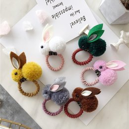 Rabbit Hair Ponytail Australia - Cute Animals Style Hair Bands Felt Three-Dimensional Plush Rabbit Ears Ponytail Holder Hair Styling Accessories Braider