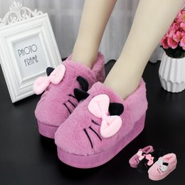 Home Plush Slippers Australia - Winter woman grils female fur shoes cotton Slippers cute home shoes indoor Non-slip flatform shoes high flat thick heel Plush keep warm