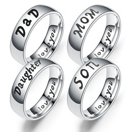 Ring Sons Australia - Stainless Steel I Love you designer Ring I love You Dad Mom Son Daughter Ring Bang Family member letter Rings Fashion Jewelry drop ship