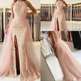 Mermaid Prom Dresses Opened Front Australia - Sexy Blush Pink Prom Dresses 2019 Halter Neck Mermaid Front Split Lace Appliques Open Back Overskirts Plus Size Party Dress Evening Gowns