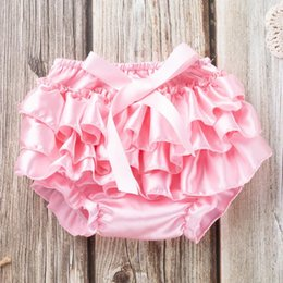 organic diapers Canada - Lovely Child Baby Clothing Floral Bow Satin Triangle Shorts Ruffle Diaper Cover Baby Girls Satin Panties Bloomers