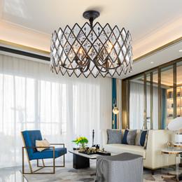 Vintage black iron chandelier online shopping - American modern crystal chandelier lighting black round lustre design led chandeliers for dining living room lights bedroom lamp
